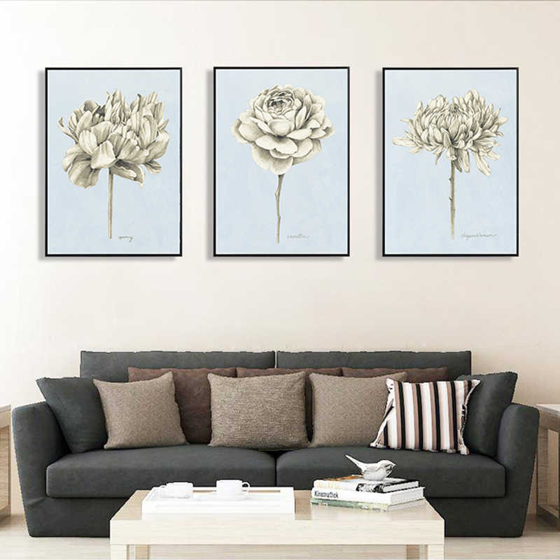 Artwork Canvas Painting Triptych Canvas Prints Blossom Flowers Rose Wall Pictures Sketch Style For Home Decor Handcraft Murals