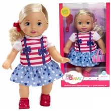 38cm little gold hair blue skirt girl Little Mommy baby doll Fragrant Boneca doll toy figure toy