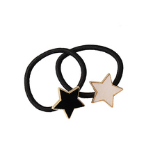 M MISM Korean Girls Ponytail Holder with White/Black Star Scrunchy Headwear Rubber Band Elastic Gum for Women Hair Accessories