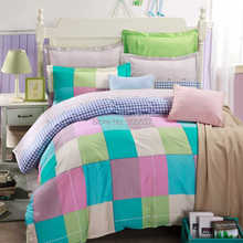 grey blue pink plaid design cheaper bedlinens cotton school girl's bedding set 4-5pc duvet quilt covers sheets full/queen size