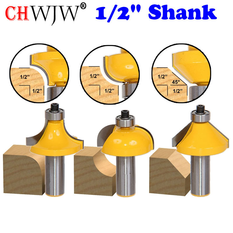 3Pc 1/2 Shank Edging Router Bit Set - Large Roundover Cove and Chamfer  Woodworking cutter<br>