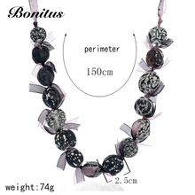 [Bonitus Jewelry Store]2017New Arrival Fashion Statement Vintage Necklaces Ribbon & Dried Seed Bead For Women Necklaces 06N3110(China)
