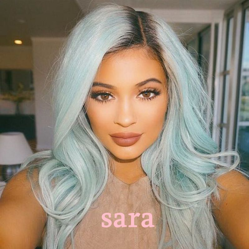 Ombre Turquoise Synthetic Lace Front Wig Body Wave Two Tone Black to Aqua Blue  Synthetic Wigs Heat Resistant Hair Women Wigs<br><br>Aliexpress
