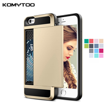 Armor Slide Credit Card Case For iPhone 6 6S 7 Plus 5 5S 5C SE 4 4S Slot Wallet Shock Proof Skin Hard Plastic+TPU Cover Shell(China)