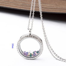 Fashion 316L Stainless steel 30mm memory living magnet glass floating locket Pendant Necklace