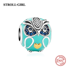 New arrival silver 925 beads cute animal owl charms with enamel and CZ Fit Original pandora bracelets diy jewelry making gifts(China)