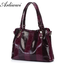 Arliwwi Brand Graceful OL Style 100% Genuine Cowhide Leather Handbags Crocodile Grain Shoulder Bags Women*Free Shipping B0122