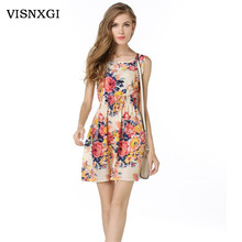 Fashion 2017 Summer Print Dresses For Women Elegant Sexy Pleated Lolita Dress Party Female Vestidos De Festa Robe Clothing S092