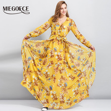 Boho Flower Print Summer Dress Deep V Neck Sexy Long Wome Dress Elegant Cute Beach Casual Holiday Dress MIEGOFCE New Collection