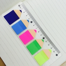 1 Pcs Cute Kawaii Candy Color Pencil Stub Memo Pad Sticky Notes Post It Page Flag Index With 15 Cm Rulers School Supplies(China)