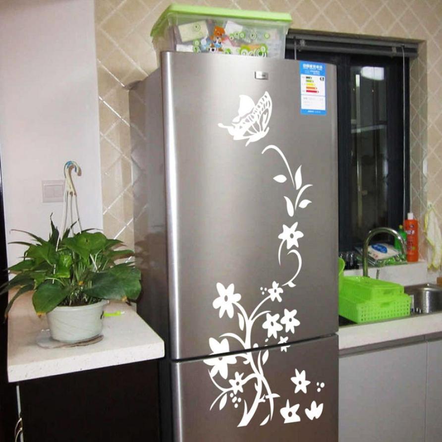 Schwarz blumen rebe raum dekor abziehbilder kühlschrank kleiderschrank aufkleber wandbild wohnkultur dekoration zubehör spiegel