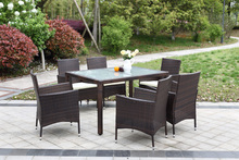 iKayaa 7PCS Rattan Outdoor Patio Dinning Table Set Cushioned Garden Patio Furniture Set Light Brown Cushion DE Stock