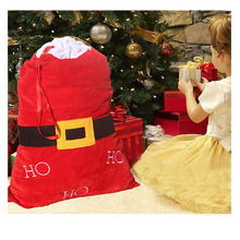Large Sack Stocking Gifts Bag Christmas Gifts Bag Santa Belt Christmas Day Decor HOHOHO Velvet Bag Bolsas De Regalo De Navidad