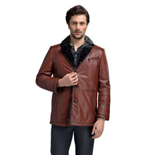 Men Pure Cow Leather Jackets Thicken Lambswool Winter Warm Brown M-4XL Male Genuine Leather & Suede Fur Coats For Men 58508
