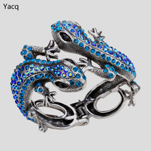 YACQ Gecko Bangle Bracelet for Women Her Antique Gold Silver Color Animal Bling Crystal Jewelry Gifts Wholesale Dropshipping A08(China)