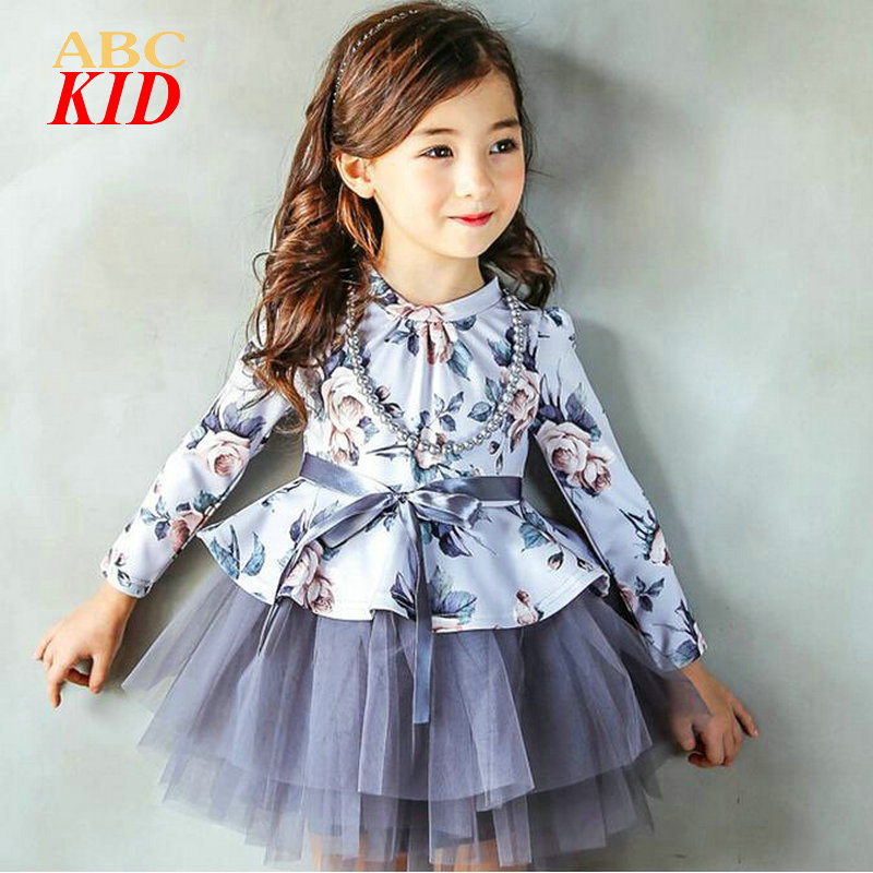 Winter Warm Girls Dress Vestido Princess Dress Disfraz Infantil Long Sleeve Vintage Palace Floral TUTU Dresses Mesh KD212<br><br>Aliexpress