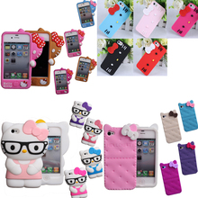 NEW 2017 fashion 3D Soft Silicon hello kitty Case For iPhone 4 4S 5 5S SE super protecting cute Bowknot Hello kitty rubber cover