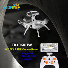 VICIVIYA TK106RHW Altitude Hold Elfie Drone with 0.3MP Camera Wifi FPV Quadcopter Waypoints G-sensor 4CH RC Helicopter Gyro Dron(China)