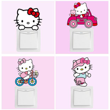 DIY Cute Hello Kitty Cartoon Switch Stickers PVC Removable Wall Stickers Home Decoration Bedroom Parlor Decoration Free Shipping(China)