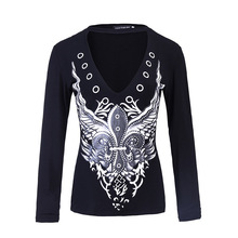 Ladies tops 2017 hot selling deep v neck black print t-shirt women long sleeve top femme casual sexy shirt