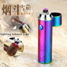 USB Electric cigarette cigar lighter Double Dual Arc Flameless Rechargeable Windproof pulse cross tobacco pipe accessory ligther