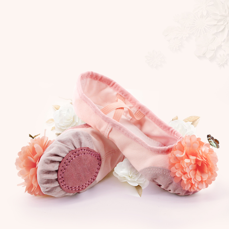 Pink Ballet Shoes Girls Toddler Children Ballet Slippers Soft Split Leather Sole Yoga Gymnastics Dance Shoes With Flower(China)