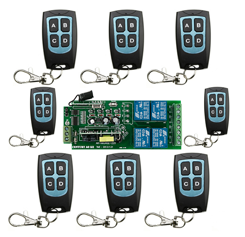 New AC 85v 110v 120v 220v 250v 4CH RF Wireless Remote Control System / Motor and electric door 220V Learning code receiver<br>
