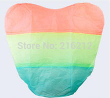 Fashion Hot Rainbow Heart-shaped Paper Flying Chinese Lantern Kongming Light Floating Wedding birthday Party valentines gift