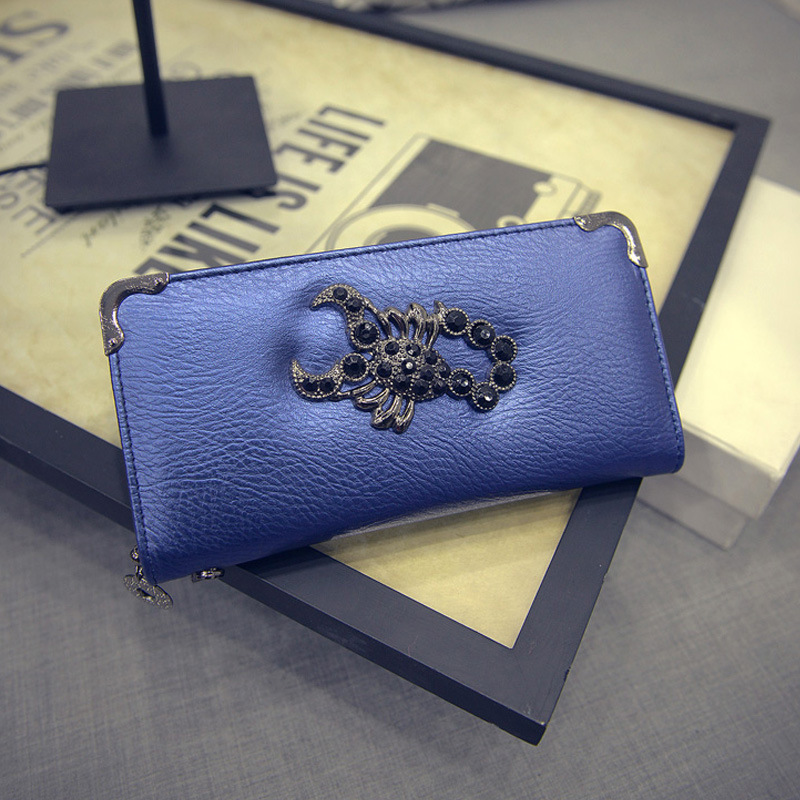 New Arrival Women Wallet With Scorpion Pattern Purse High Quality Elegant Lady Clutch Bag Wallet Purse   ST scorpion Blue<br><br>Aliexpress