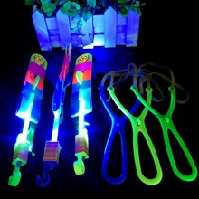 3PCS LED Light-up Toys For Children LED Flying Toys Flying Arrow Helicopter LED Light Slingshot Arrow Helicopter Gift Toys FG03