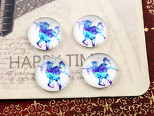 New Fashion 20pcs 12mm Blue Horse Handmade Photo Glass Cabochons Pattern Domed Jewelry Accessories Supplies-E1-21(China)