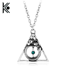 New design fashion jewelry Deathly Hallows Necklace hogwarts necklace snake jewelry Blue marble Men and women necklace