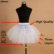 In Stock Three Layers Children Petticoat without Hoops Kid Crinoline For Flower Girl Dresses White Black Little Girl Petticoat