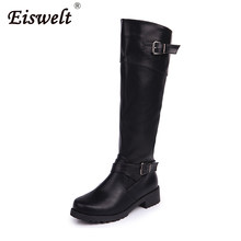 EISWELT Autumn and Winter Women Fashion Boots Long Tube Knights Female  Sheos Thick and Large Belt 379630157c