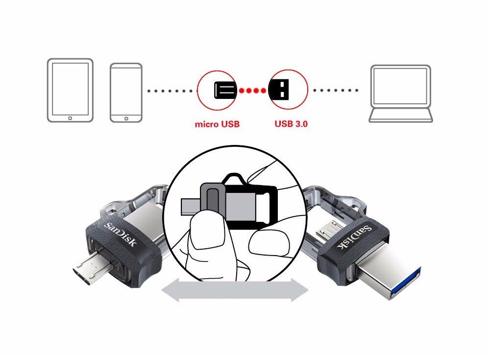 Sandisk Extreme USB Flash Drive 128GB 64GB 32GB 16GB Dual OTG Pen Drive High Speed Memory U Disk Micro USB3.0 Card SDDD3