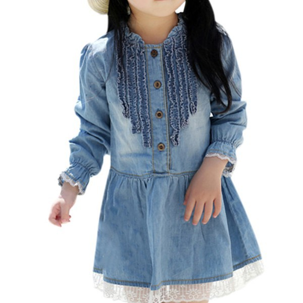 Kid Girls Dress Denim Dress Long Sleeve One-piece Dress Princess Ruffled Lace Cowgirl Dress 2-7Y <br><br>Aliexpress