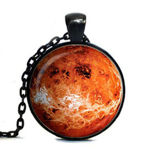 Free shipping Venus Tag, Venus Tag, Silver Plated pendant, Venus Jewelry galaxy universe space planet, red, brown