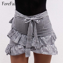Forefair Fashion Ruffle Plaid Skirt 2017 Summer Women Classic Vintage Lace-Up Criss Cross Ruffles Mini Skirts