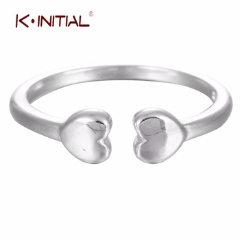 1Pcs 925 Silver Fashion Double Bone Heart Stars Trangles Ring Jewelry For Women Knuckle Finger Rings Birthday Gift Drop shipping