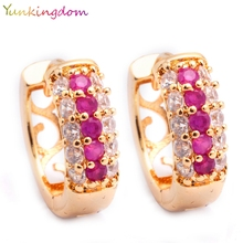 Yunkingdom Gold Color Earrings for Women Cubic Zirconia Earrings Hoops Fashion Earring M0298(China)