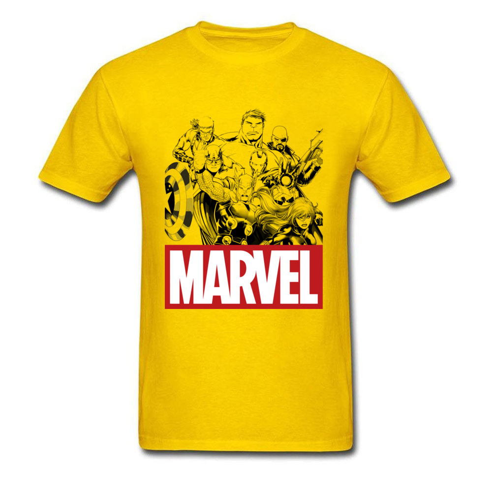 Newest Male Top T-shirts Crew Neck Short Sleeve 100% Cotton Star Wars Marvel Heroes Logo Tops & Tees Print Tops & Tees Marvel Heroes Logo yellow