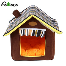Four Seasons Dog Houses Beds For Small Medium Dogs Cat Indoor Puppy Dog Teddy Striped Removable Cover Washable Mat Houses Beds