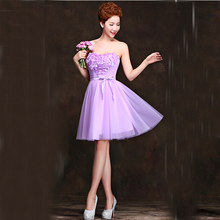 lavender tulle lace elegant gorgeous sleeveless robe de soiree cocktail dresses beautiful party dress free shipping S3125