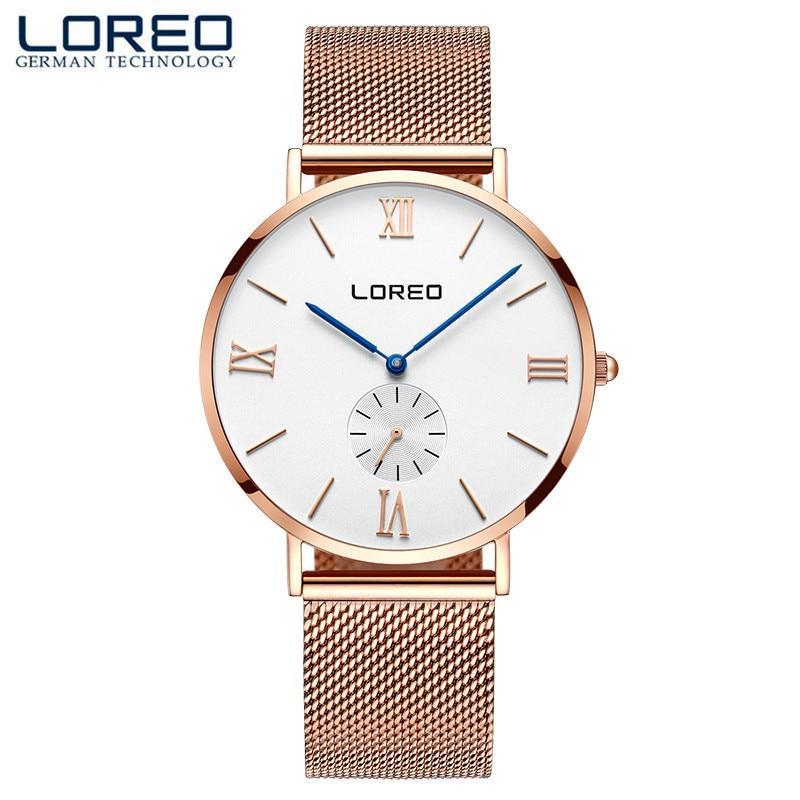 LOREO Luxury Women Men Watches Casual Quartz Watch Female Clock Silver Stainless Steel Bracelet Dress Watch Relogio Feminino M19<br>