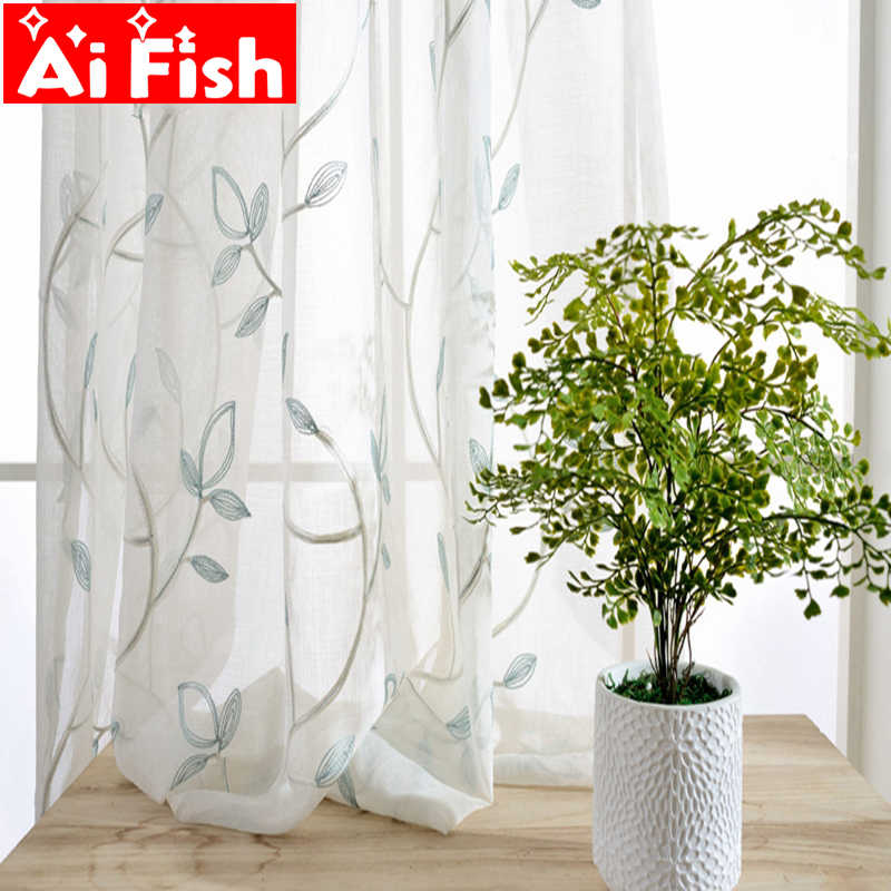 Light Blue Silver-thread Cotton Embroidery Bedroom Window Screens Leaves Tulle Curtains For Living Room Window Blinds AP055-40