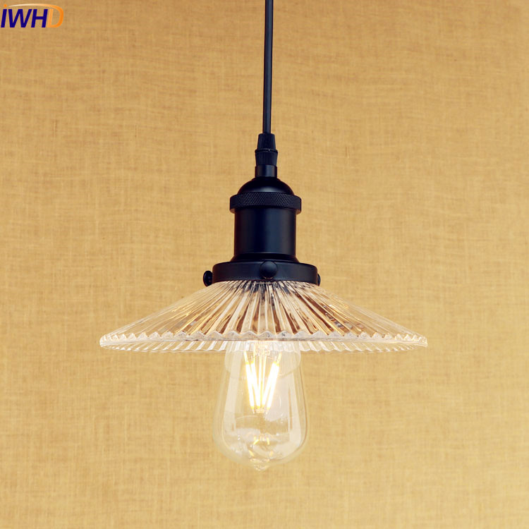 IWHD Loft Style Retro LED Pendant Light Fixtures Hanglamp Lampara Edison Industrial Lighting Vintage Lamp Galss Lampshade<br>