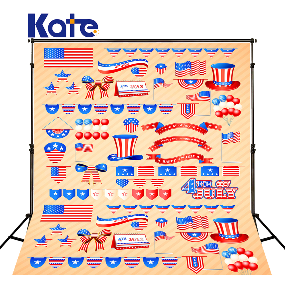 Kate 8X8FT Newborn Cartoon Photography Background American Flag Independence Day Ballom Backdrop for Children Photography Shoot<br>