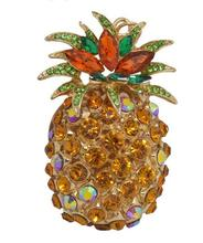 Pineapple Ananas Fruit Charm Pendent Crystal Purse Bag Keyring Key Chain Gift
