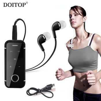 DOITOP Collar Clip Handsfree Sport MP3 Music Stereo Wireless Bluetooth Headset Heahphone Earphone Earbud With Call Shock Tips O5
