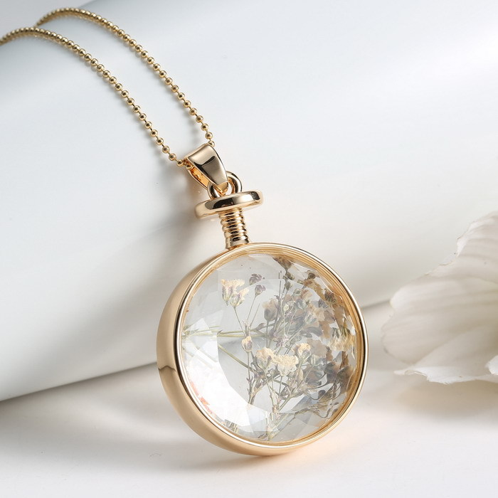 Glass Ball Pendant with Real Dried Flower Gold Plated Light Blue